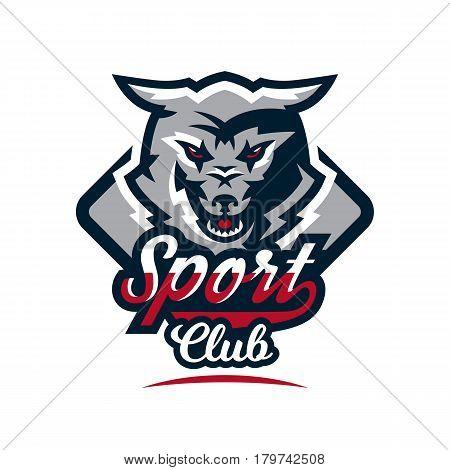 Emblem, logo, sticker, aggressive wolf ready to attack, predator. Vector illustration