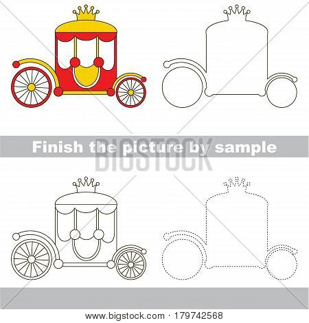 Drawing worksheet for preschool kids with easy gaming level of difficulty, simple educational game for kids to finish the picture by sample and draw the Red Gold Chariot