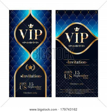VIP party premium invitation card poster flyer set. Black and blue glow design template. Quilted pattern decorative background.