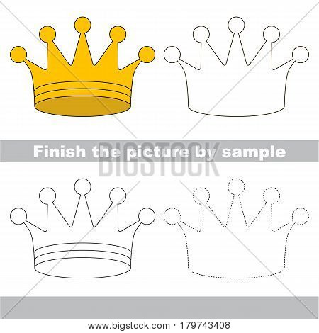 Drawing worksheet for preschool kids with easy gaming level of difficulty, simple educational game for kids to finish the picture by sample and draw the Gold Crown