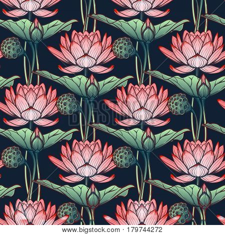 Lotus background. Floral seamless pattern with water lilies isolated on deep blue background. EPS10 vector illustration.