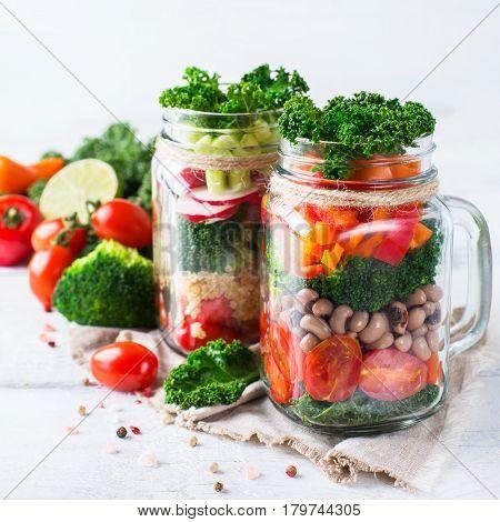 Healthy Vegan Salad In A Mason Jar With Quinoa