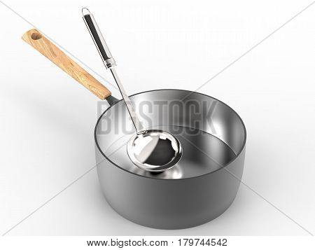 3d rendering sauce pan with ladle on white background