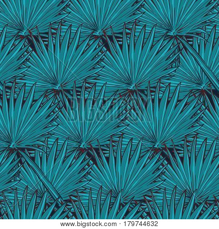 Floral seamless pattern with and fan palm tree leaves on deep blue background. EPS10 vector illustration.