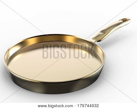 3d rendering empty pan on white background