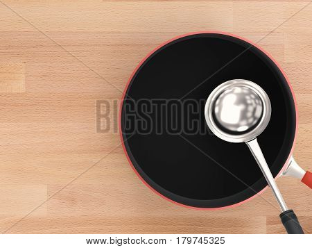Sauce Pan With Ladle Top View