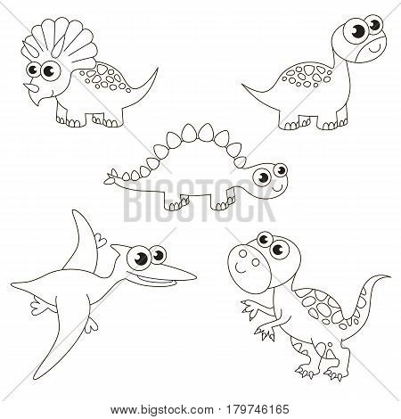 Colorless tremendous dinosaurus dino set to be colored, the big coloring book for preschool kids with easy educational gaming level.