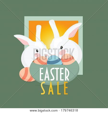Easter Sale promotion template. Two Easter bunnies with easter eggs in the basket and text