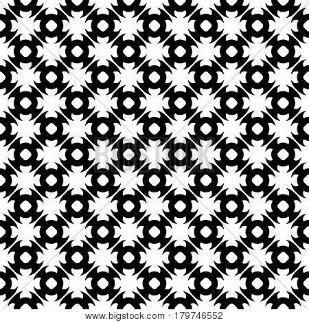 Vector monochrome seamless pattern. Abstract black & white geometric texture in oriental style, repeat tiles. Endless ornamental background, design for prints, decoration, textile, furniture, fabric, prints, wrapping
