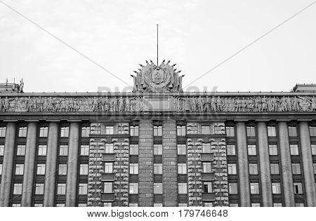 House of Soviets - the Neoclassicism building was built in 1936-41. Located on Moscow Square in St. Petersburg Russia. Black and white.