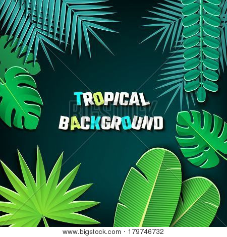 Vector Illustration of pop-up book for Design, Website, Background, Banner.Paper Jungle origami Elements. Tropical craft Template