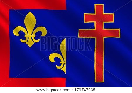 Flag of Maine-et-Loire is a department in west-central France in the Pays de la Loire region. 3d illustration