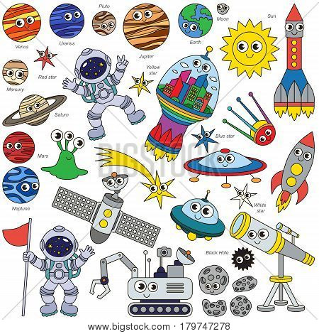 Colorful Space Kid elements set, collection of coloring book template, the group of outline digital elements vector illustration, kid game page.