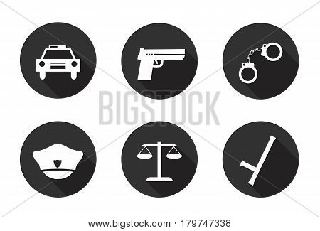 Police icons. Six different flat icons. Set