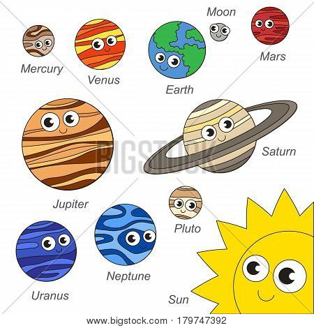 Cute Solar Sistem Planet elements set, collection of coloring book template, the group of outline digital elements vector illustration, kid game page.