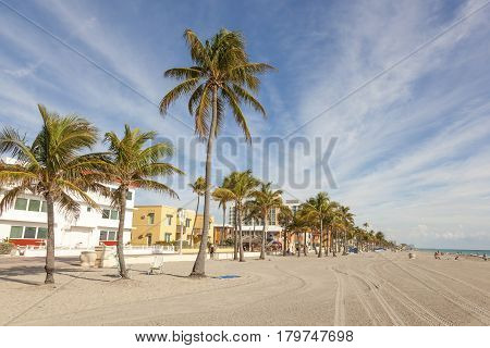 Hollywood Beach Fl USA - March 13 2017: Hollywood Beach Broad Walk on a sunny day in March. Florida United States