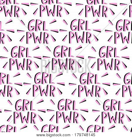 Vector feminism seamless pattern. Feminist movement background