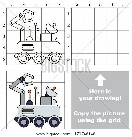 Copy the picture using grid lines, the simple educational game for preschool children education with easy gaming level, the kid drawing game with Lunar Rover