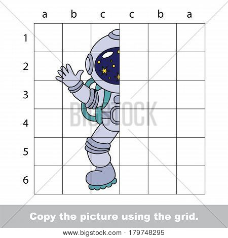Finish the simmetry picture using grid sells, vector kid educational game for preschool kids, the drawing tutorial with easy gaming level for half of Space Suit
