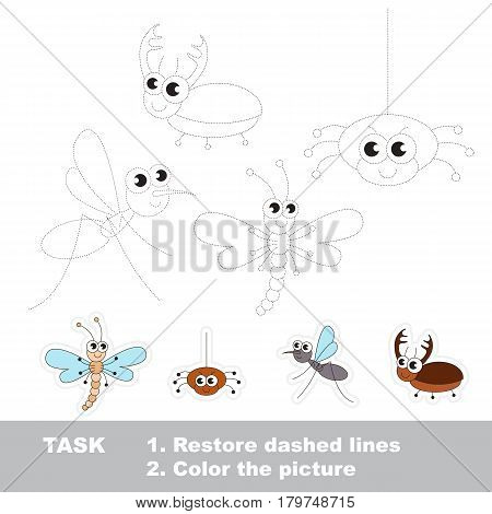 Tracing Dragonfly and Spider, and Mosquito and Beetle. Cute different insects. Dot to dot educational game for kids.
