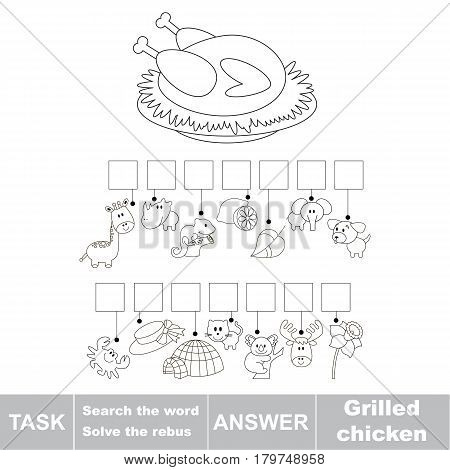 Educational puzzle game for kids. Find the hidden word Grilles Chicken
