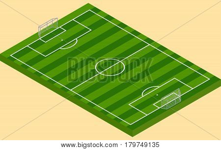 Isometric football green grass field with goalposts in vector