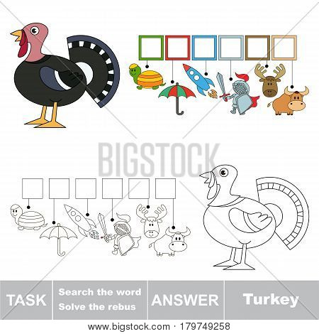 Educational puzzle game for kids. Find the hidden word Turkey.