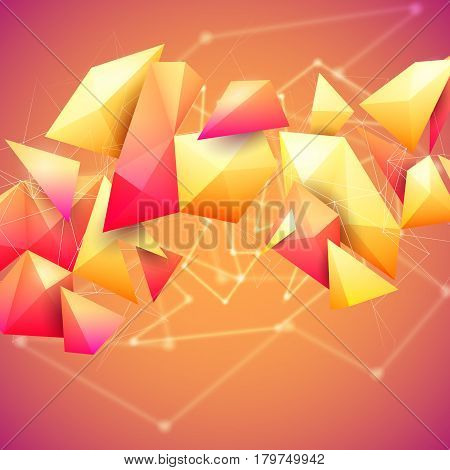 Low poly polygon mesh grid and 3d shapes on unfocused orange background