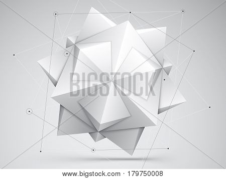 Black and white abstract geometric background with polygon star object