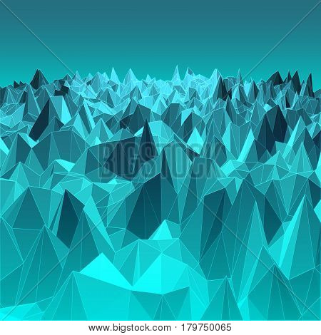 Blue abstract geometric background with polygon mesh grid object