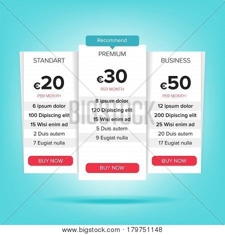 Pricing Business Plans Vector. Pricing Plans Template. Chart Table, Pricing Plan Template. Recommend With Price Web Banner