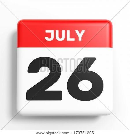July 26. Calendar On White Background.