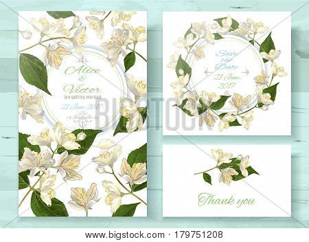 Vector wedding invitations set with jasmine flowers on white background. Romantic tender floral design for wedding invitation, save the date and thank you cards