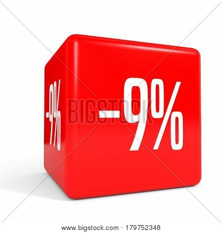 Nine Percent Off. Discount 9 %. Red Cube.