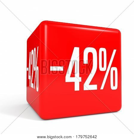 Forty Two Percent Off. Discount 42 %. Red Cube.