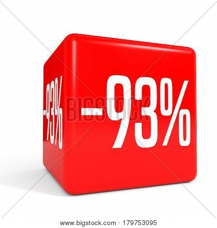 Ninety Three Percent Off. Discount 93 %. Red Cube.