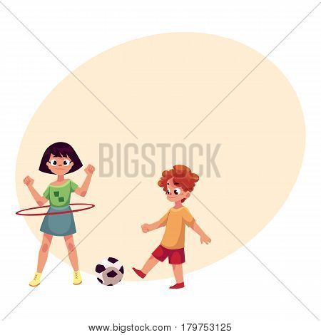 Boy and girl playing football and spinning hula hoop at playground, cartoon vector illustrationwith place for text. Two friends playing at playground, summer outdoor activity concept