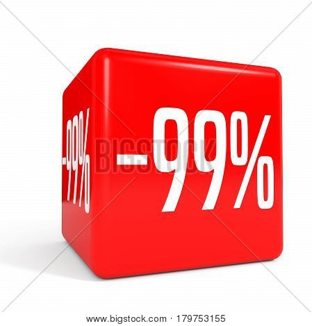 Ninety Nine Percent Off. Discount 99 %. Red Cube.