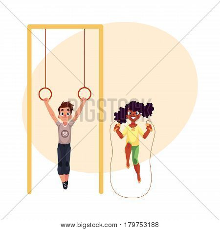 Black African girl and Caucasian boy playing with gymnastic rings and jumping rope at playground, cartoon vector illustration with place for text. Friends having fun at the playground