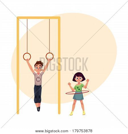 Boy and girl playing at playground, hanging on gymnastic rings. spinning hula hoop, cartoon vector illustration with place for text. Friends having fun at playground, summer activity concept