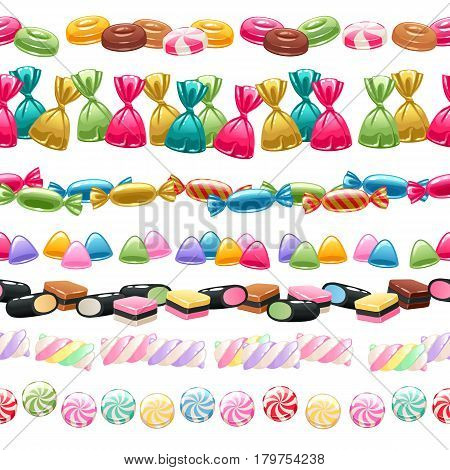 Set of seamless sweets borders on white background - marshmallow, licorice, hard candy, dragee, toffee, jelly, peppermint candy vector illustration