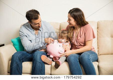 Beautiful Family Saving Money Together