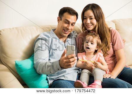 Girl Amazed With Family Selfie