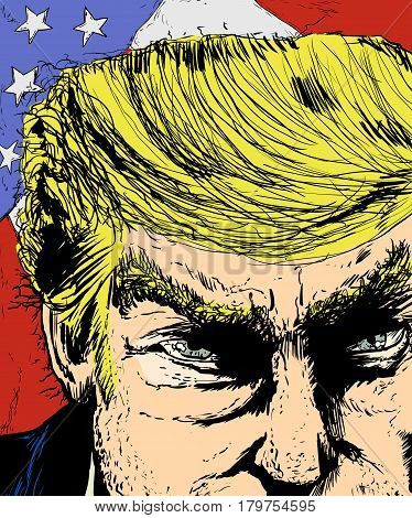 April 1 2017. Close up sketch on face of Donald Trump with colorful American flag