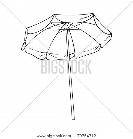 black and white open beach umbrella, sketch style vector illustration isolated on white background. Hand drawn beach umbrella, symbol of summer