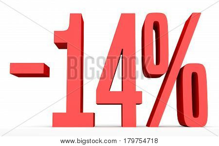 Minus Fourteen Percent. Discount 14 %.