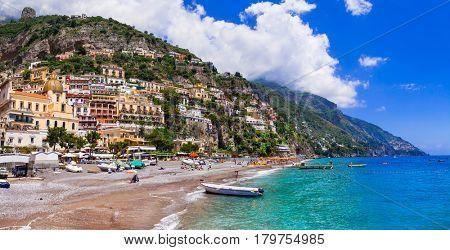 Italian holidays - beautiful beach of Positano - scenic Amalfi coast