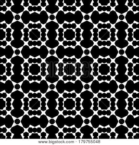 Vector seamless pattern, black & white geometric background with simple angled figures, polygons. Square ornamental illustration, monochrome geometrical mosaic. Abstract dark texture, repeat tiles
