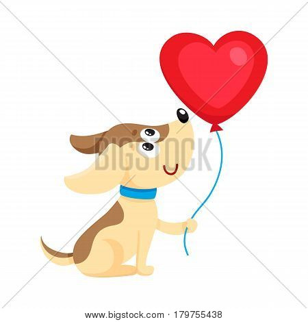 Cute and funny dog, puppy holding red heart shaped balloon, cartoon vector illustration isolated on white background. Dog, puppy holding heart balloon, birthday greeting decoration
