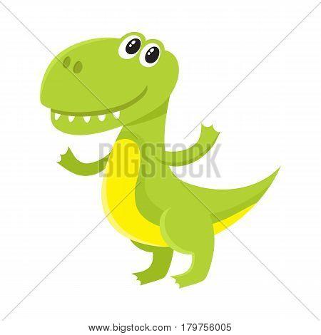 Cute and funny smiling baby tyrannosaurus, dinosaur, cartoon vector illustration isolated on white background. Funny, happy T-rex dinosaur, tyrannosaurus character, decoration element